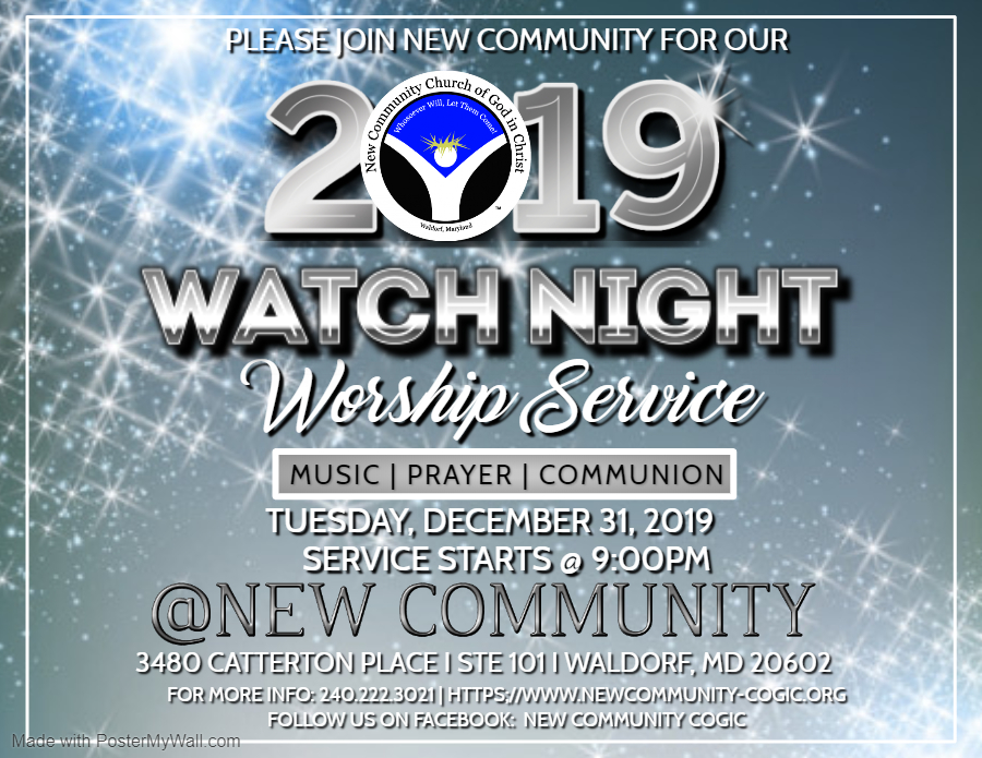 NEW YEARS EVE WATCH NIGHT CHURCH SERVICE - Made with PosterMyWall
